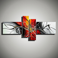 4 panel canvas wall art handmade red Black white painting Picture modern abstract acrylic oil painting