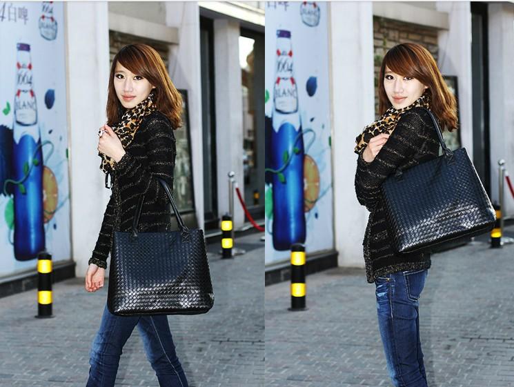 2015 new European American big Korean casual fashion embossed patent leather large shoulder bag handbags - Yiwu Boutique Shop store