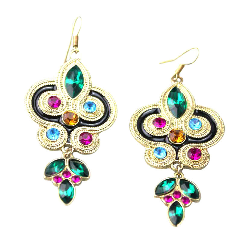 Original Peacock Crystal Earrings For Women Fashion Jewelry From India Gold