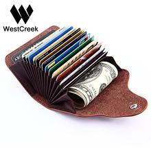 Buy Westcreek Brand Vintage Large Capacity Men Cardholder Split Leather Business Women Credit Card Holder Buckle Card id Holders for $4.79 in AliExpress store
