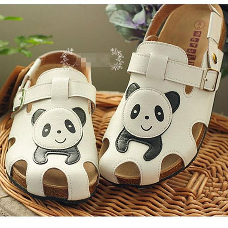 2016 Big Size 34-41 Womens Cute Cartoon Panda Back Strap Beach Sandals Casual  Hole Hole Shoes Slippers C249<br>