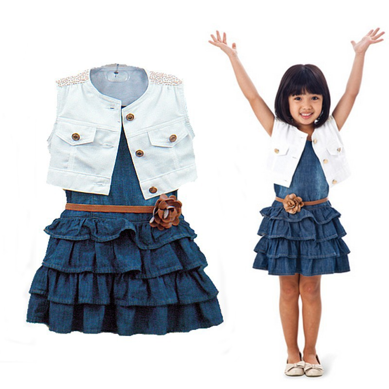 Gril Dress Fashion Summer Sets Casual Outfit Clothes Cotton Jacket + Denim Layered Toddler tutu girl belt - Beautiful Angels children's clothing store