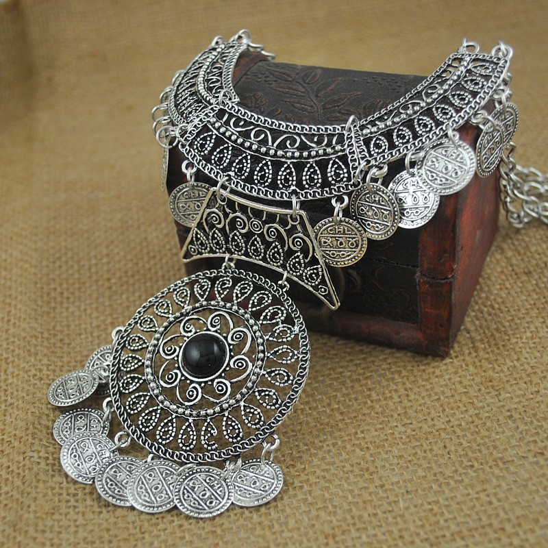 Vintage Gem Statement Bohemian Necklace Jewelry Fashion Collar Choker Tassel Coin Gypsy Ethnic Maxi Necklaces Women 12Pcs Lot<br><br>Aliexpress