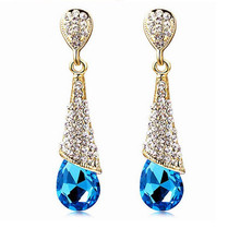 Fashion Brand Alloy 18K Gold Plated Statement Austria Blue Crystal Long Earrings Rhinestone Water Drop Elegant Earring Jewelry(China (Mainland))