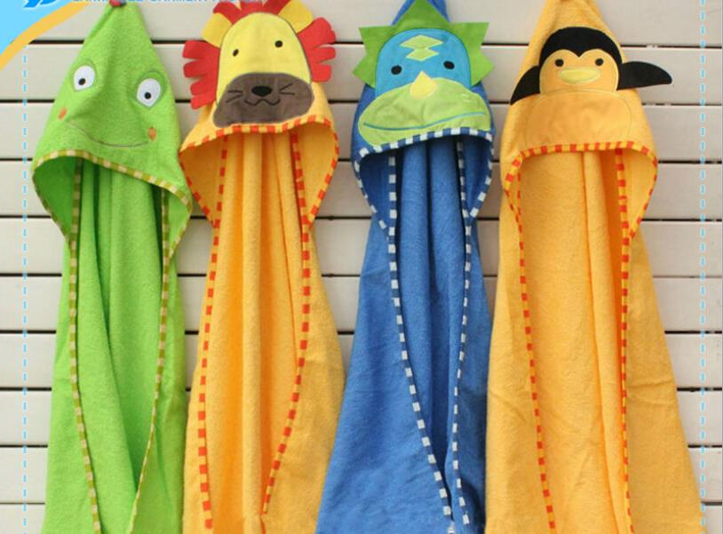 2015 baby bath zoo towel baby animal bath towel 100% cotton hooded Lovely Cartoon 5 colors 200033(China (Mainland))