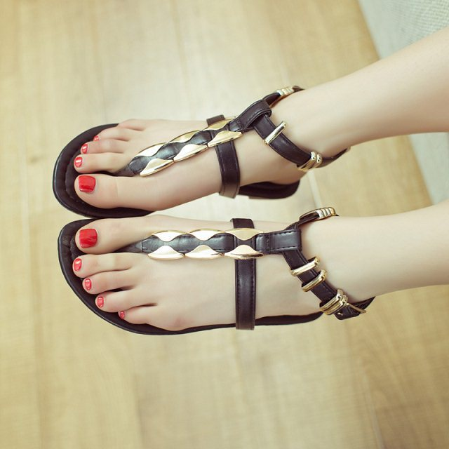 2015 summer women sandal candy color flat sandals genuine leather shoes comfortable ladies sandalias - Forrest Wang's store
