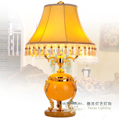Fashion table lamp marble table lamp copper lamp living room lights rosin yellow table lamp decoration(China (Mainland))