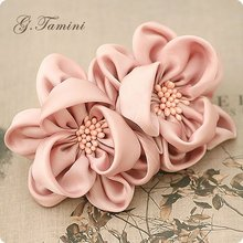 Two Imitation Silk Flower with Stamen Pistil Spring Hair Clip Chiffon Flower Barrettes for Girls New Hair Accessories(China (Mainland))