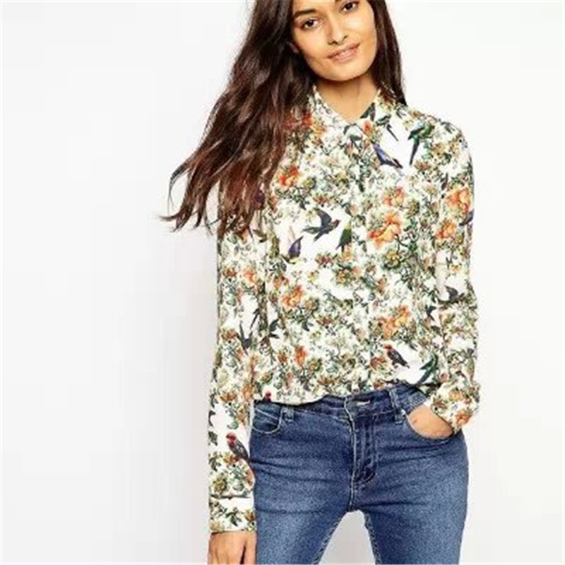 Rosalin Free Shipping Summer 2015 European Style Women's Sweet Floral Cultivating Long-sleeved Printing Birds Shirt RB402128(China (Mainland))