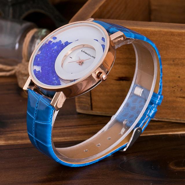 Zegarek damski przesypujące kryształki opaska różne kolory