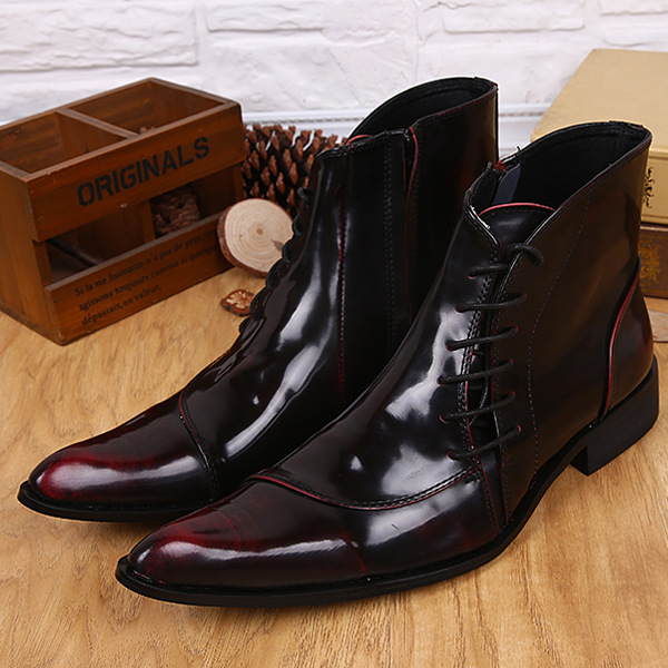 Winter Martin Boot 100% Genuine Leather Mens Shoes Pointed Toe Lace & Zipper Business Dress Wedding Shoe Plus Size 38-46 - Fashion shoe store