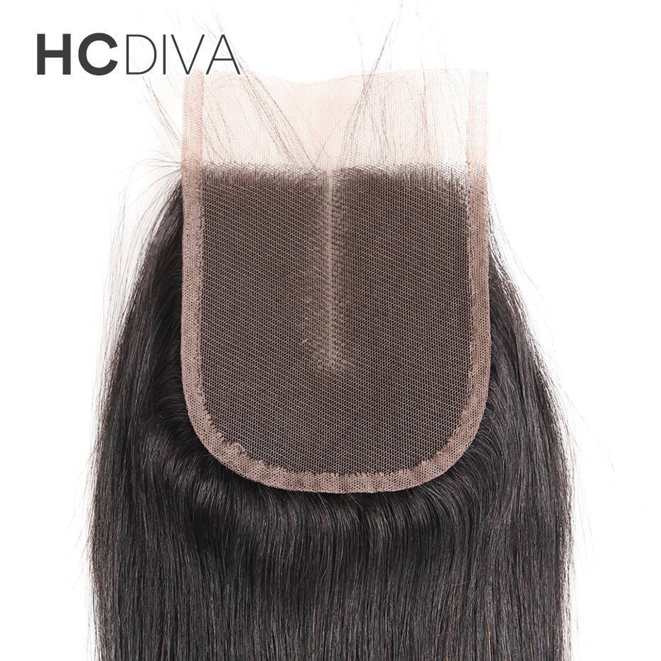 HCDIVA 1PC Only Natural Color 100% Non Remy Human Hair 8″-18″ Swiss Lace Middle Part Lace Closure(4*4) Straight Brazilian Hair