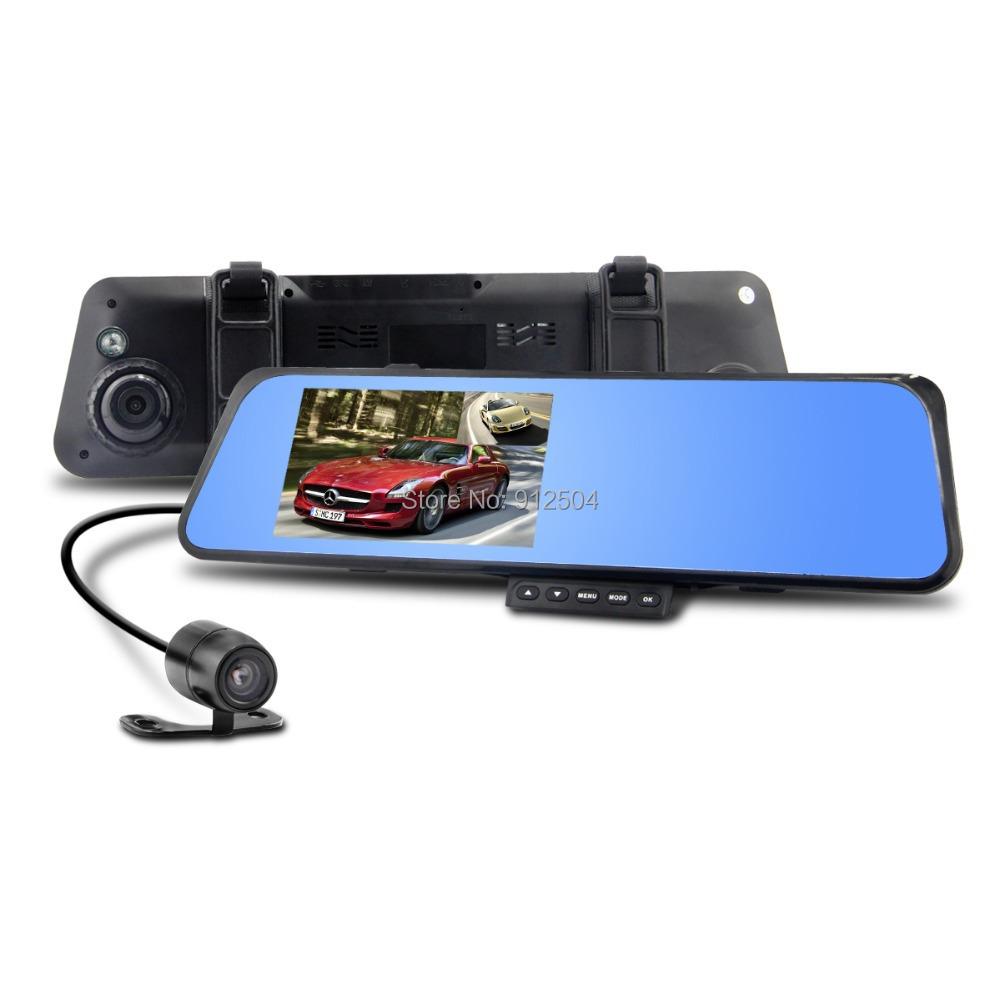 "4.3"" LCD Bule Screen HD1080P V180 Dual Lens Camera Rearview Mirror Viedo Recorder Car DVR Blackbox G-Senser v180(China (Mainland))"