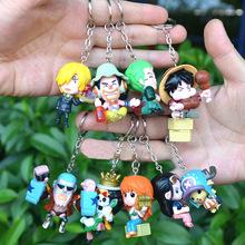 Hot Anime One Piece Good PVC Full Luffy Chopper Robin Sanji One Piece Action Figure Keychain Keyring Pendant 9pcs/lot