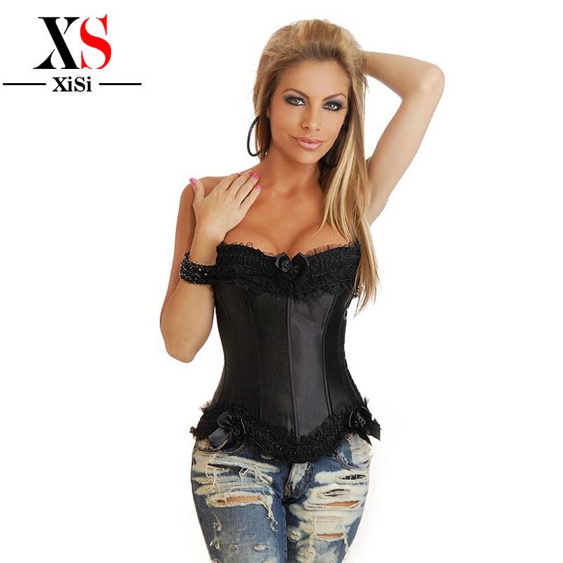 Lady parti body shaper waist training corset fashion women Bustier and corsets cincher black lace corselet xxxl Overbust corset(China (Mainland))