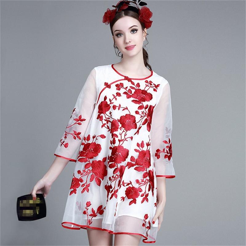 BOHOCHIC Original Vintage Ethnic Perspective Embroidered Reformed Cheongsam Plus Size Women Clothing A Line Dress AZ0505C Boho(China (Mainland))