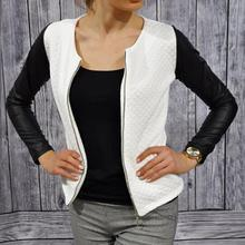 Women Slim PU Leather Jacket Casual Zip Long Sleeve Chic Stylish Tops Blouse Outwear Coat Patchwork Sport Jackets(China (Mainland))