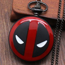 Deadpool Cosplay Anime Cartoon Pocket Watches with chain necklace(China (Mainland))