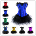 free shipping various colors sexy lace up back satin top corset bustier tutu dress Plus size