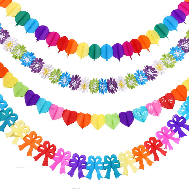 Hot Sale Chinese Colored Paper Garlands Baby Birthday Party Decoration Paper Flowers Wedding