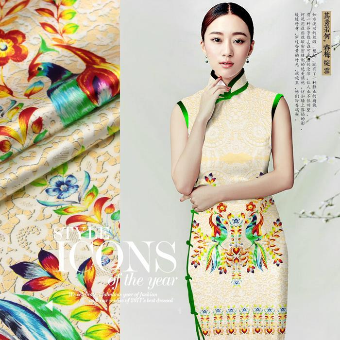 2015 New Heavy digital inkjet printed pure silk fabric stretch fabrics silkworm cloth satin clothing materials Fenglaiyi - Sanni Silk store