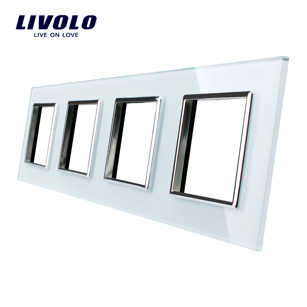 Гаджет  Livolo Luxury White Crystal Glass Switch Panel, 293mm*80mm, EU standard,Quadruple Glass Panel For Wall Socket None Электротехническое оборудование и материалы