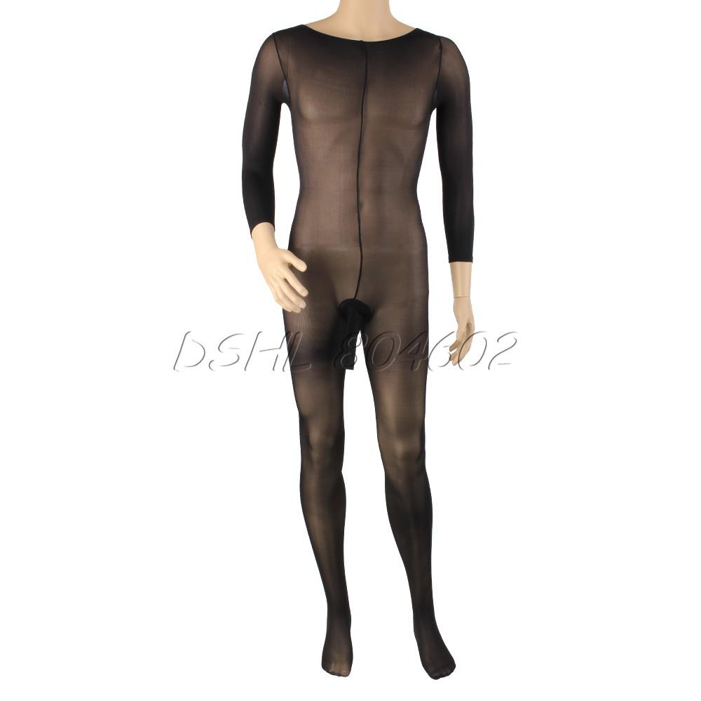 Sexy Men's Body Pantyhose Opened Sheath Sleeve Tight Stocking Crotch Close(China (Mainland))