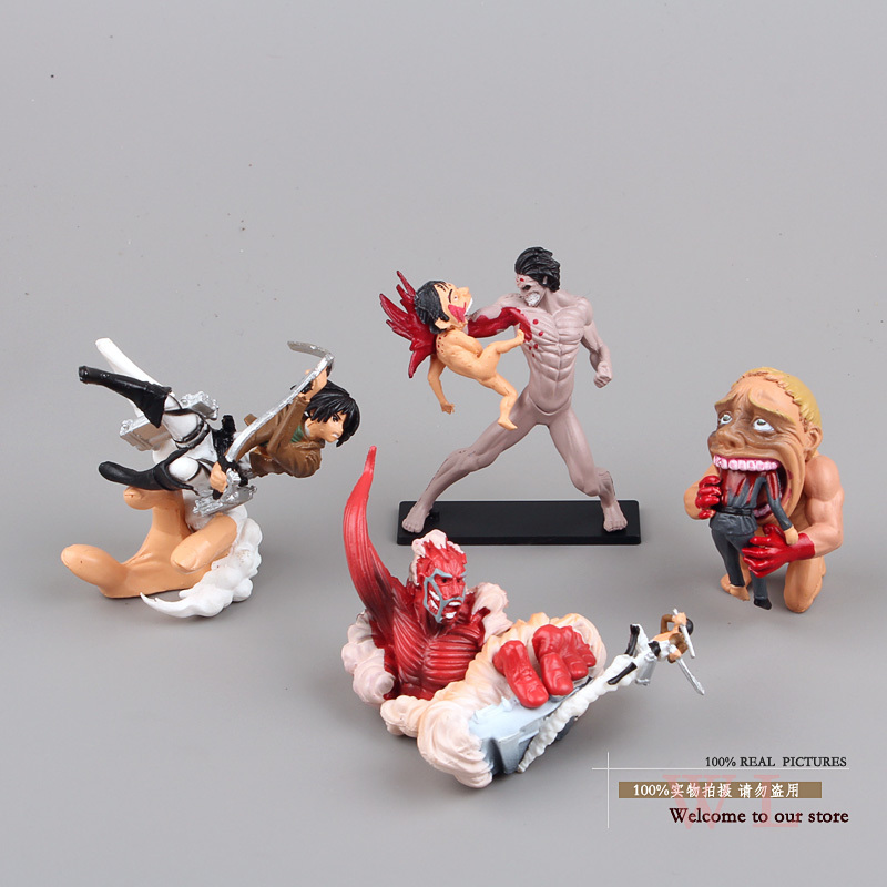 4pcs/set Attack On Titan Action Figure Toy Shingeki no Kyojin Scenario Dynamic Mikasa&Eren Dolls(China (Mainland))
