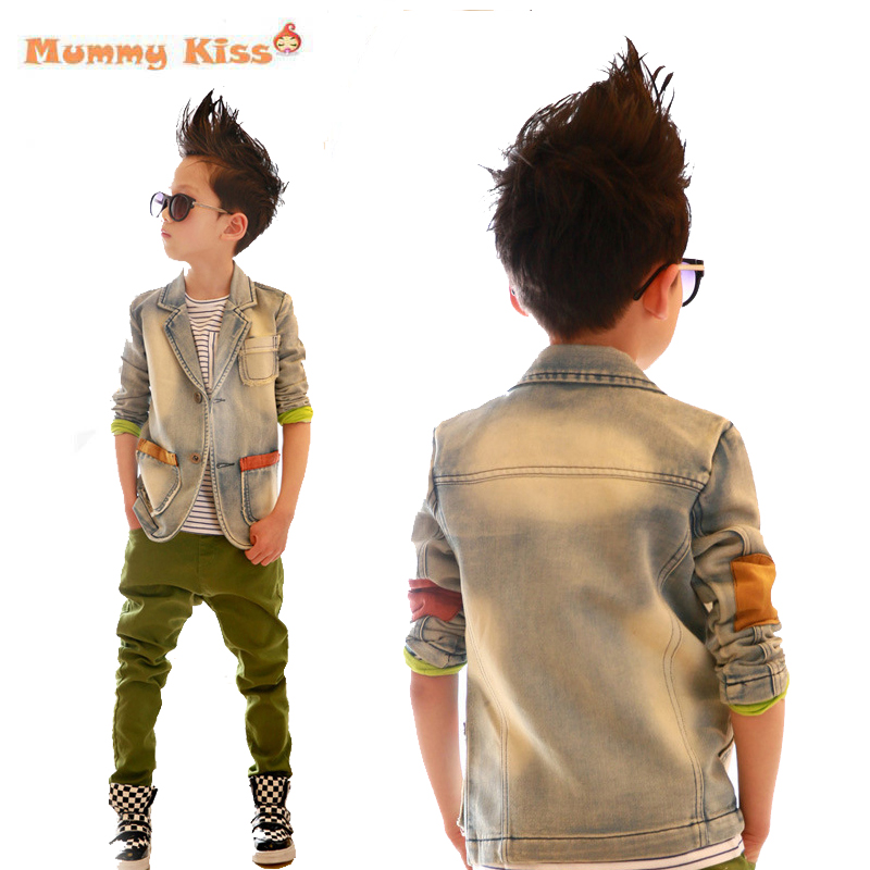 Korean Children Denim Patchwork Clothing Tide Big Boys Lapel Collar Coat Long Sleeve Spring Blazer Casual Jean Clothes tyh-30360<br><br>Aliexpress