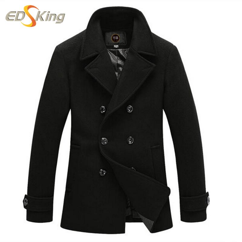 Winter 2016 Fashion Wool Coat Men Pea Coat Manteau Homme Overcoat Long Jacket Windbreakers Jaqueta Masculina Montgomery Cappotto(China (Mainland))