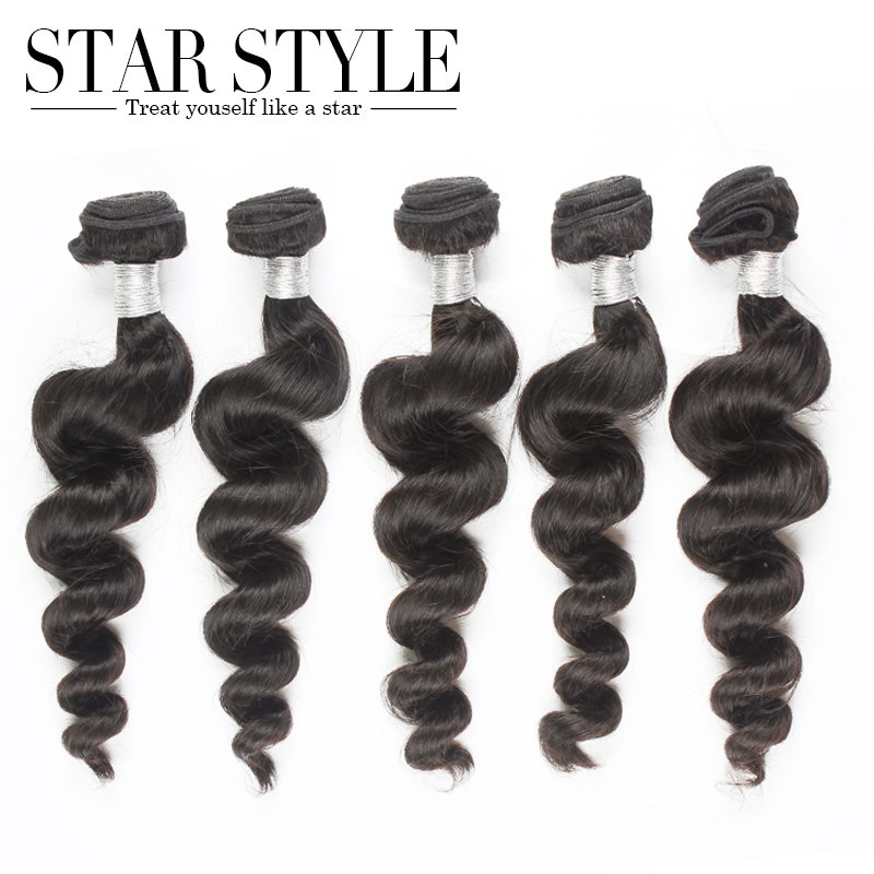 6A Star Style Hair 5pcs Lot Loose Wave Brazilian Virgin Hair Extensions human hair Unprocessed Wholesale Natural Color 1B<br><br>Aliexpress