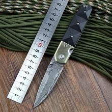 2015 nuevo envío gratis hechos a mano damasco cuchillo de bolsillo cuchillo plegable de la alta calidad de madera de sándalo negro diamante guardia latón forma