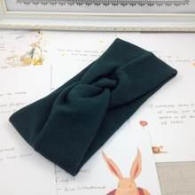 2019 kobiet z pałąkiem na głowę bluza krzyżykowa węzeł elastyczne gumki do włosów miękkie stałe dziewczyny Hairband akcesoria do włosów Twisted wiązane Headwrap(China)