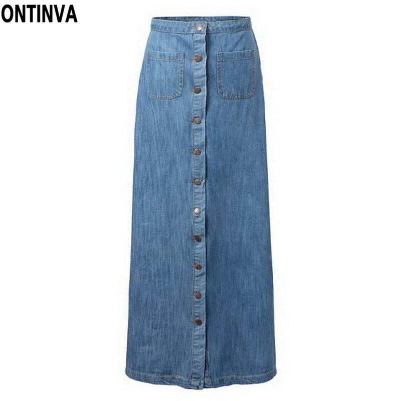 ankle length denim skirt blue jean high waisted