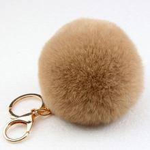 Escolher 15 cores 8 CM Genuine rex Rabbit fur bola chaveiro Saco chave Do Carro anel chave Pingente de pele pom fofo cadeias(China)