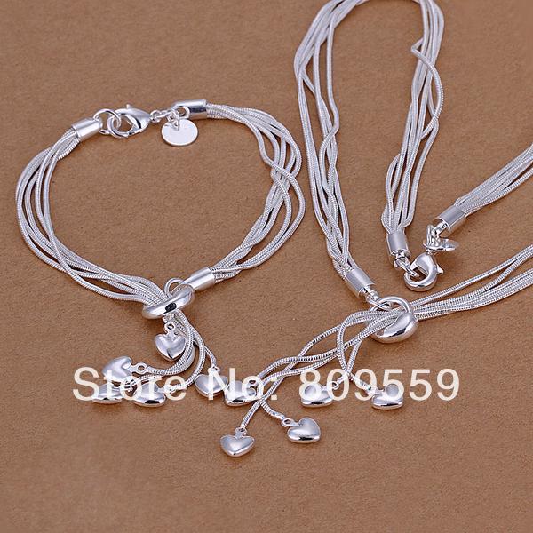Гаджет  925 silver Plated Tai chi hanging five heart necklace&bracelets set pendant set ,Factory lowest price wholesale None Ювелирные изделия и часы