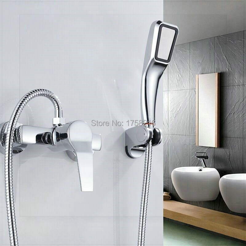 Wall Mounted Bathroom Faucet Bath Tub Mixer Tap With Hand Shower Head Shower Faucet Sets