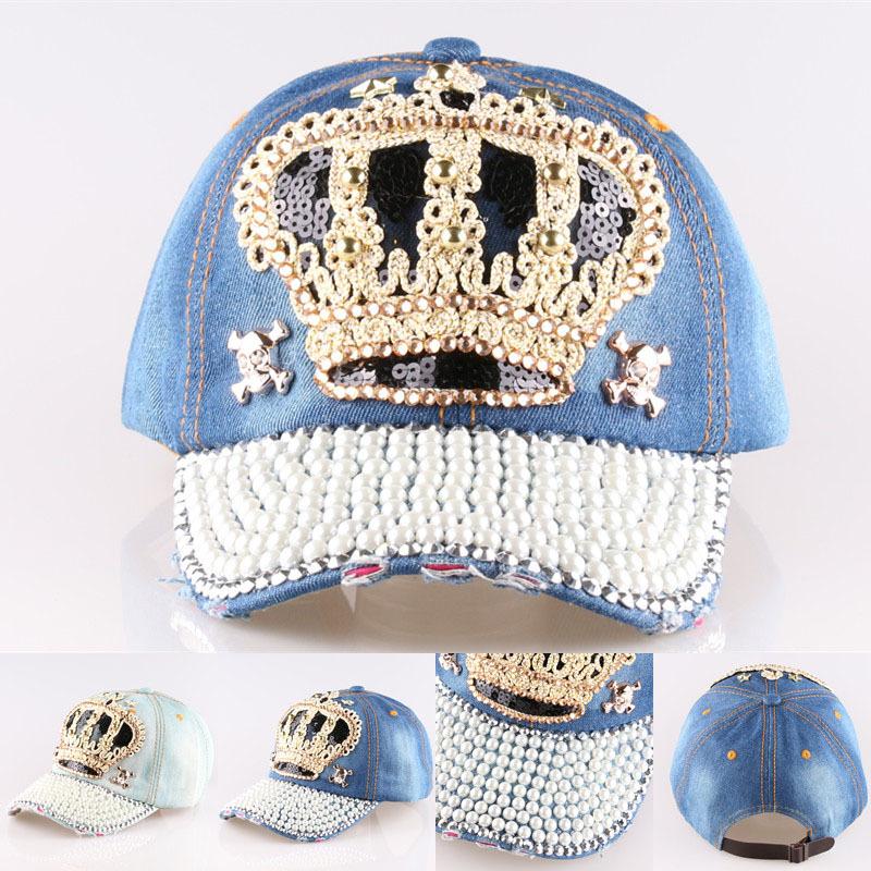 Summer style 2015 New Hot sale Crown Point drill pearl cowboy denim women baseball cap men Hat rhinestone print Diamond Point(China (Mainland))