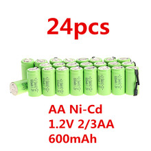 24pcs AA Ni-Cd 600mAh 1.2V 2/3AA rechargeable battery NiCd Batteries - Green(China (Mainland))