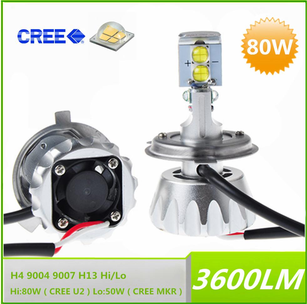 2014 New 80W 3600LM 6000K Cree LED Headlight Conversion Kit Bulbs H4