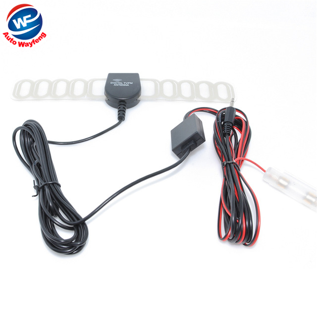 Car anolog tv antenna tv aerial with amplifier booster DC3.5 connector free shipping WF(China (Mainland))