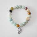 Fashion Boho Men Women Natural Stone Beads Hollow Out Leaf Bracelet Power Stone Lucky Bracelet Friendship