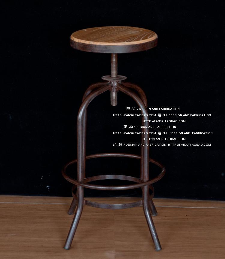 Sólida barra de ferro cadeiras giratórias cadeira elevador americanos retro madeira para fazer o velho ferro forjado bar fezes cadeira especiais(China (Mainland))