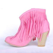 KARINLUNA Plus Größe 48 Schwarz Braun Rosa Quasten High Heels Frauen Schuhe Frau 2019 western stiefel Vintage Fransen Stiefeletten(China)