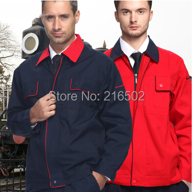 Set Long-sleeve coat+Pants construction uniform welder gas station - SPURS Work Uniforms store