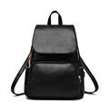 Daypack Multi Pockets Flap Bag Women Solid Color Fashion Preppy Style Zipper Backpack 2016 New Trendy