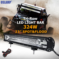 Oslamp 324W 23inch CREE Chips LED Work Light Bar Offroad Led Bar Tri row Combo Beam