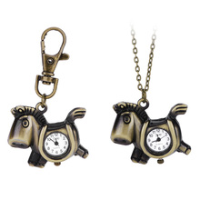 Hot Sale Cute Vintage Horses Quartz Watches Horses Pocket Watch Necklace Key Chain Key Ring Necklace