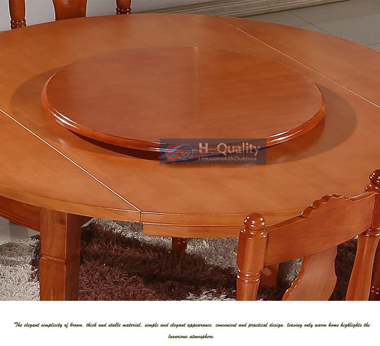 Solid oak wood turntable bearing lazy susan dining table for Rotating dining table
