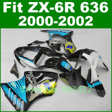 Fairing kit For Kawasaki 2000 2001 2002 zx6r fairings blue play station 2 Ninja 00 01 02 zx636 B1L8 plastics body kit